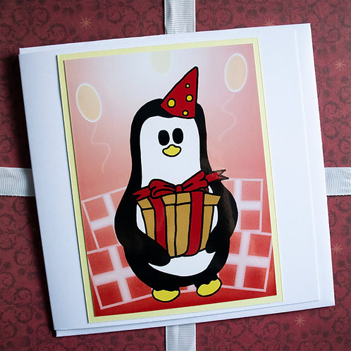 Party penguin, party hat, present, greeting card