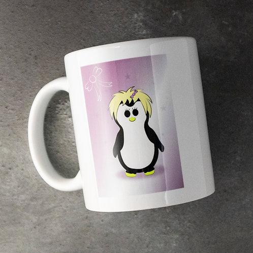 Penguin mug, purple, girl penguin