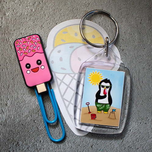 Summer penguin, beach fun, key ring