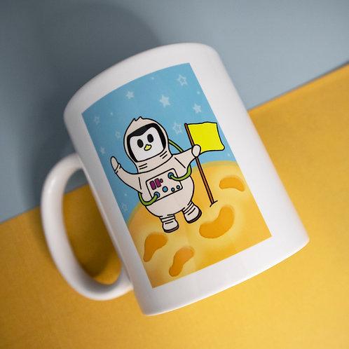 Astronaut design, moon landing,  penguin mug