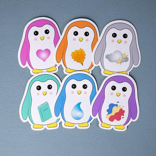 Self care, cute penguin, stickers