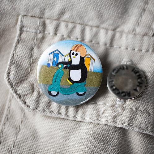 Travel pin badge penguin badge, summer, beach
