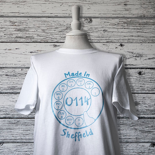 Made in Sheffield, white, screen printed T-shirt
