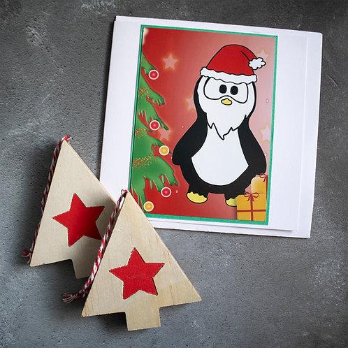Penguin Santa by Christmas tree, Christmas card