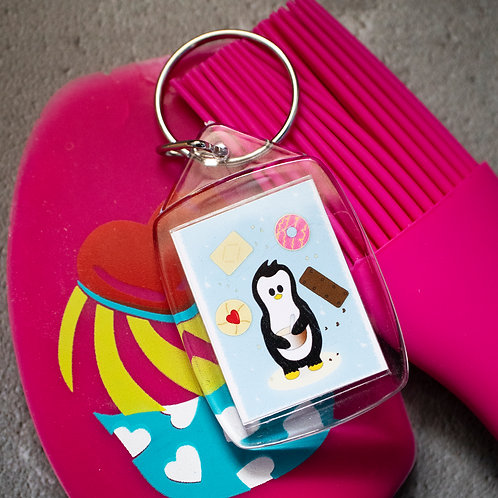 Penguin baking, favourite biscuits, key ring