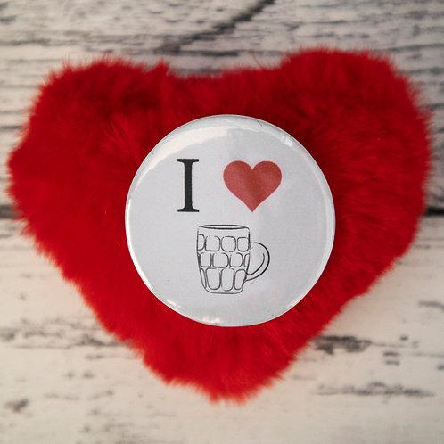 I love beer, heart, badge