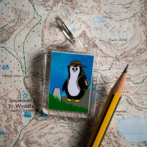 Hiking, hill walking, penguin, key ring