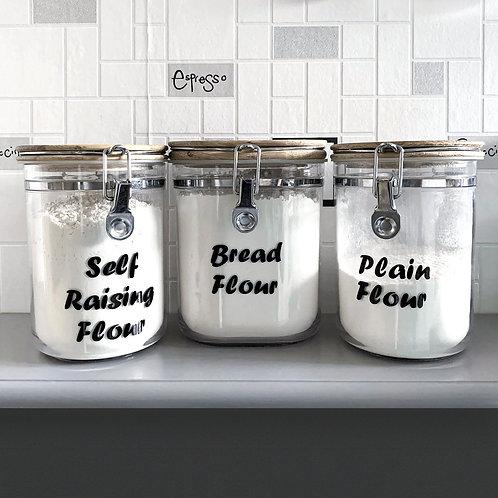 Flour labels, self adhesive vinyl, black