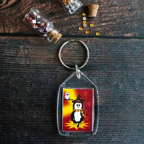 Wizard key ring, penguin illustration, magical