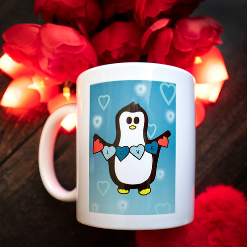 Blue penguin mug, love hearts, cute