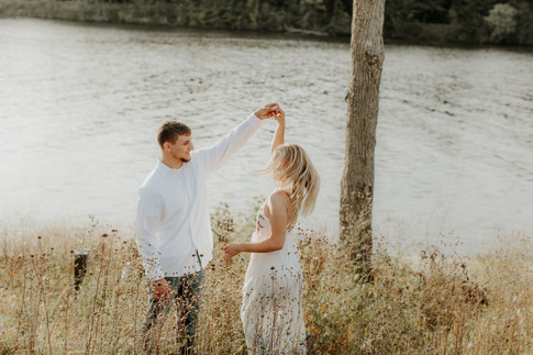 Engagement Session by the Wisconsin River in Stevens Point, WI