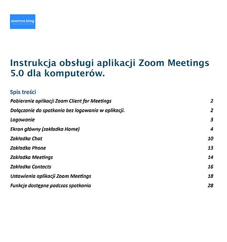 Zoom Meetings Desktop 5.0 instrukcja w języku polskim