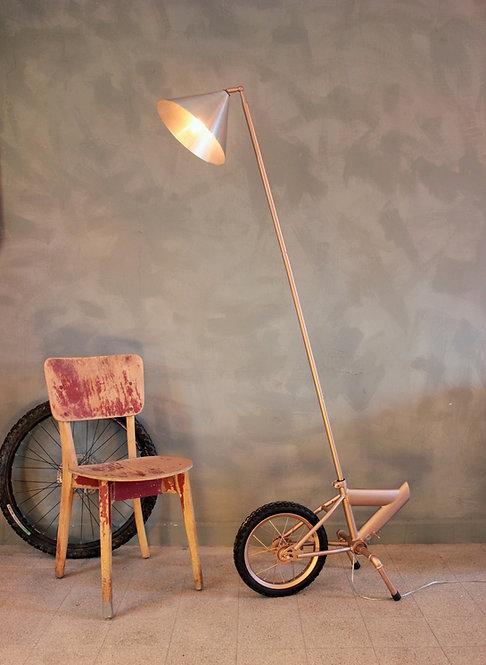 Golden bike floor lamp