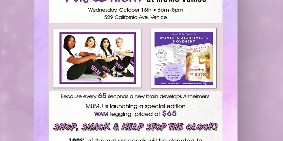 VENICE, CA | WAM Purple Night at MUMU Oct 16, 2019 6-8pm