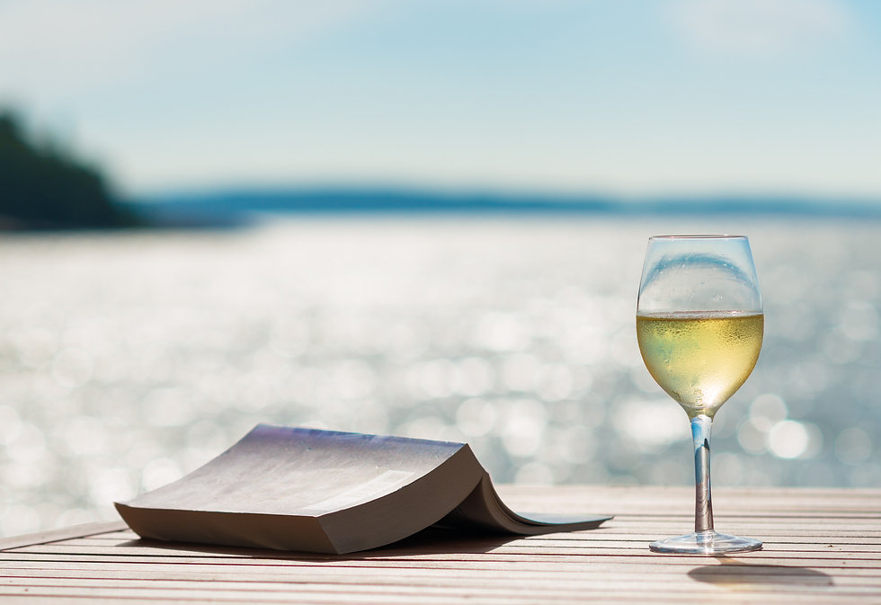 Wine and Book by the Sunny Sea.jpg
