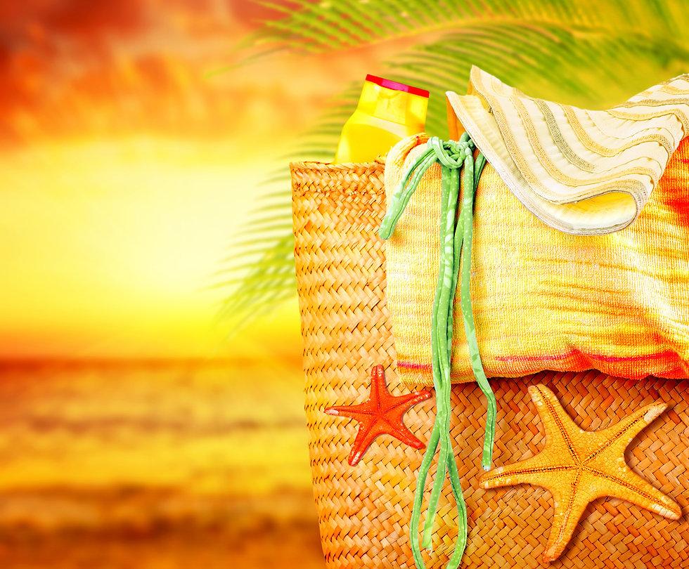 Sunset on the beach, summertime holidays