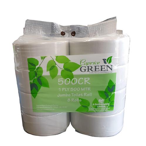 Caprice Green Jumbo Toilet Rolls 1 Ply 500m 8 p/pk