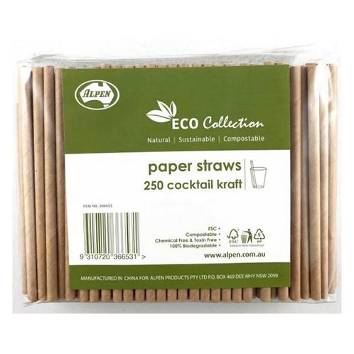 Paper Straws Kraft Cocktail 135x6mm Packet 250