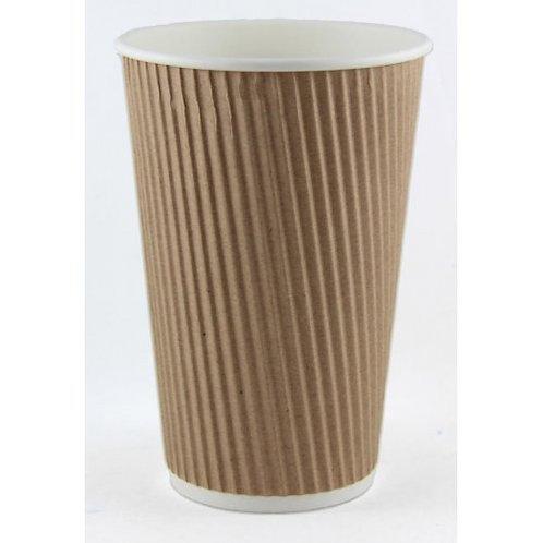 Coffee Cup 16 oz Ribbed Kraft sleeve 25