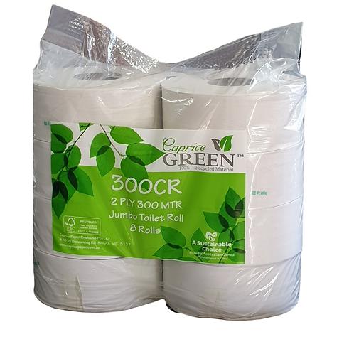 Caprice Green Jumbo Toilet Rolls 2 Ply 300m 8 p/pk