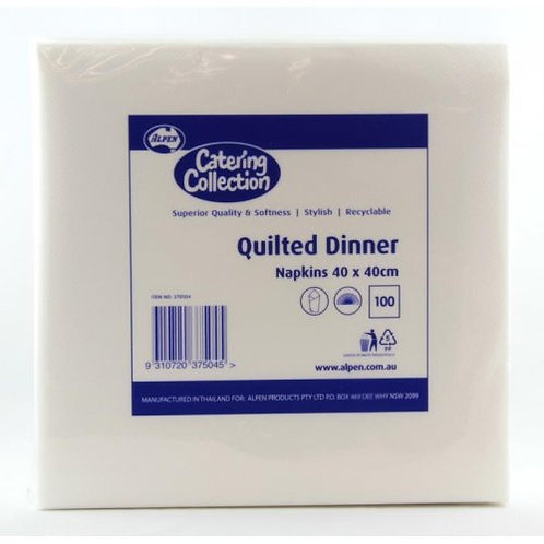 Premium Quilted Dinner White Napkins Pk 100