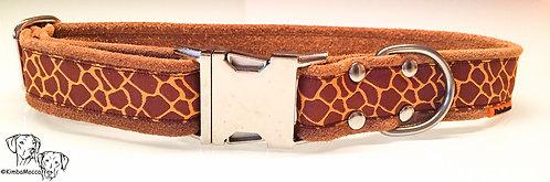 Giraffe pattern on suede leather cognac