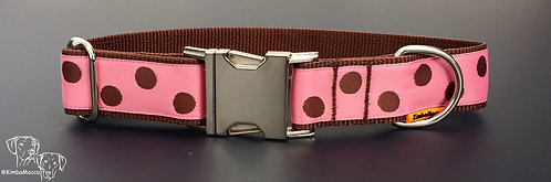 Soft Pink/Brown dots on brown