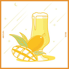 망고 원액을 첨가하여 망고의 달콤함과  홉의 시트러스한 아로마가 어우러지며,  가벼운 바디감으로 누구나 부담없이  즐길 수 있는 Fruit Beer