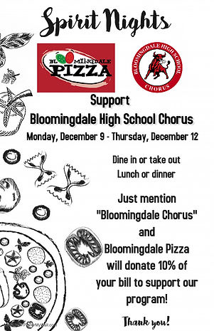 Bloomingdale Pizza Spirit Night Ad (half