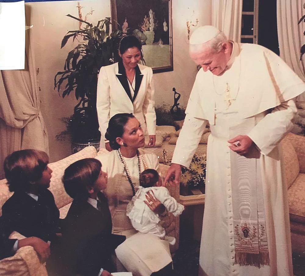 Pope Jean-Paul II with Michele Bennett Duvalier