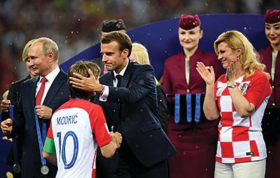 Emmanuel+Macron+France+v+Croatia+2018+FI