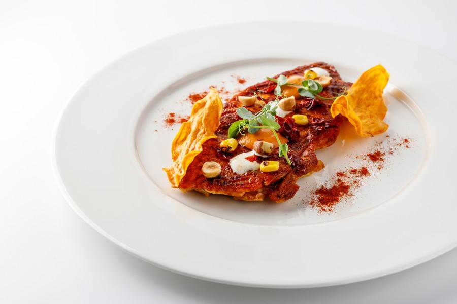 Paillard di galletto con salsa romesco
