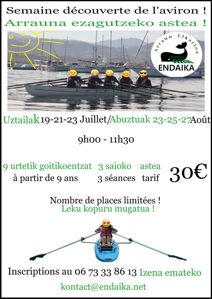 Semaine découverte de l'aviron Juillet/Août