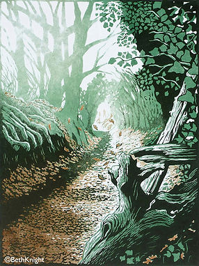 Gypsy Lane lino cut Beth Knight printmaker