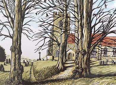 Bulmer Church lino cut by Beth Knight printmaker