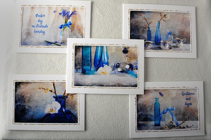 Fotokunstkort i blåtoner
