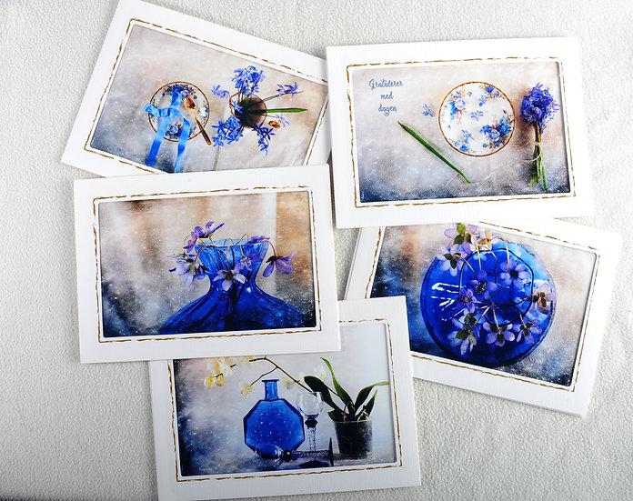 Blå blomsterkort til alle anledninger