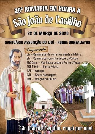 VEM AÍ A 29° ROMARIA EM HONRA A SÃO JOÃO DE CASTILHO