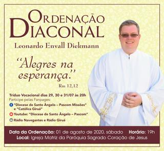 Convite para a Ordenação Diaconal do Seminarista Leonardo Envall Diekmann