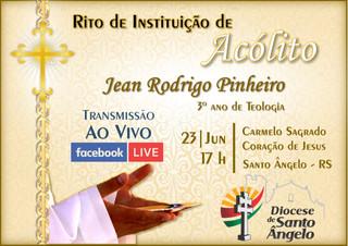 Seminarista Jean Pinheiro será instituído Acólito