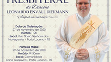 Diocese se prepara para Ordenação Presbiteral do Diácono Leonardo Envall Diekmann