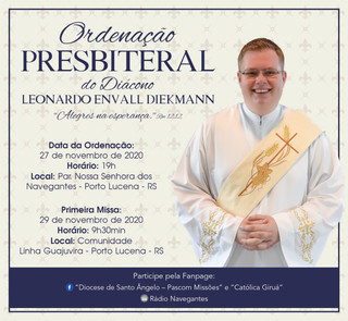 Diácono Leonardo será ordenado Padre nesta sexta-feira