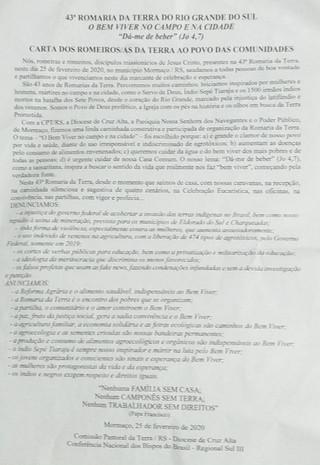 Carta da 43ª Romaria da Terra