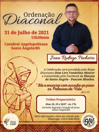 Diocese convida para a Ordenação Diaconal do Seminarista Jean Pinheiro