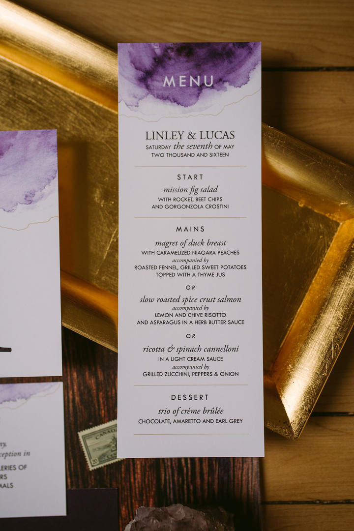 The Elemental Wedding Menu