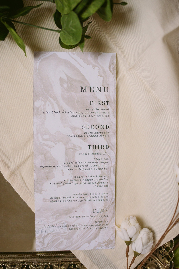 The Sumi Wedding Menu