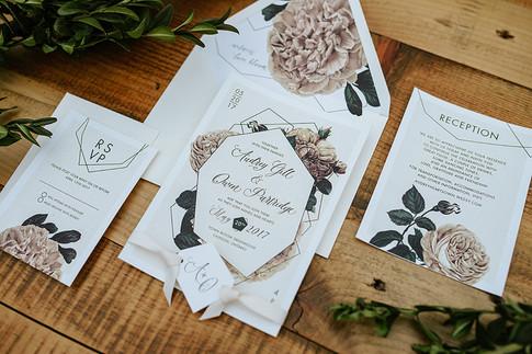 Green house wedding invitation suite