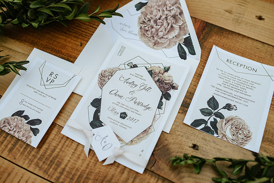 Green house wedding invitation suite
