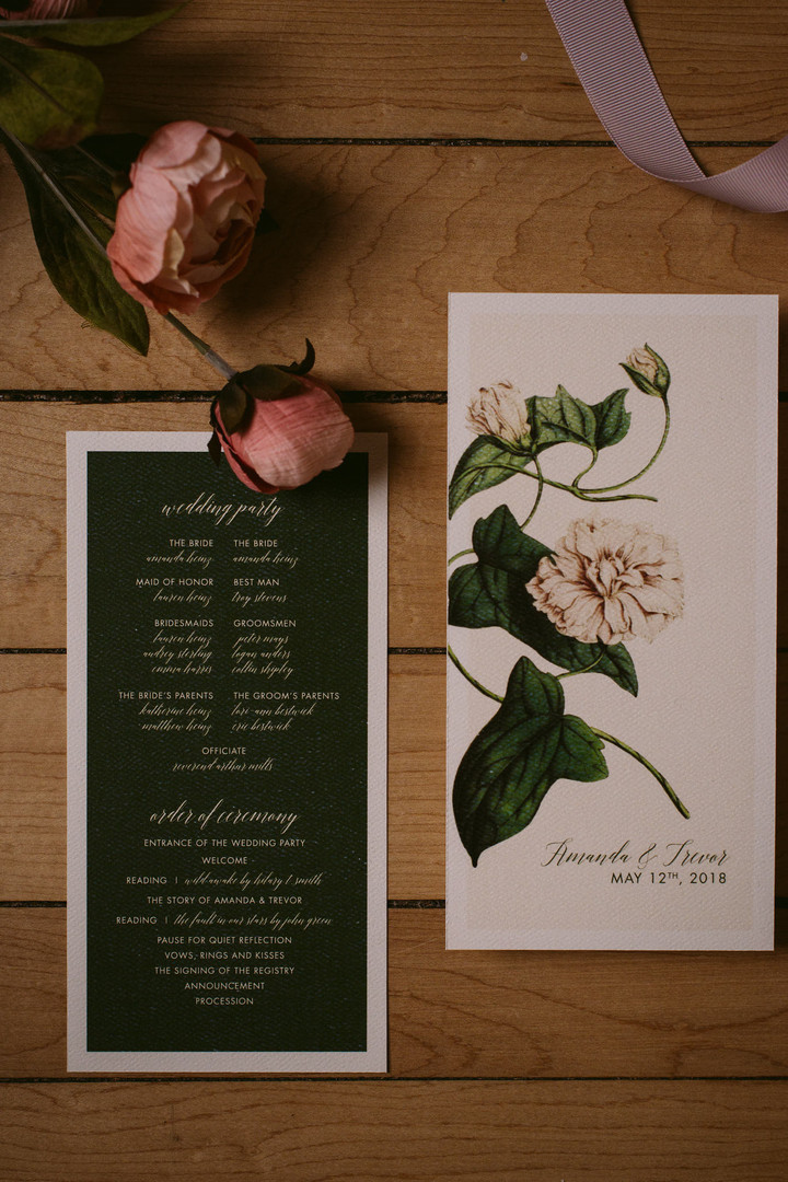 The Modern Botanist Wedding Program