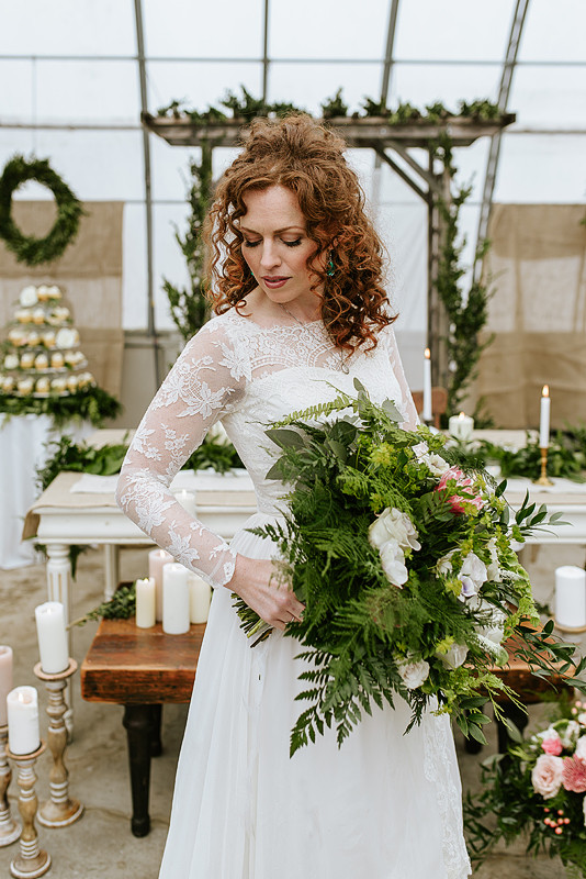 Modern Greenhouse Wedding Bride with Bouquet